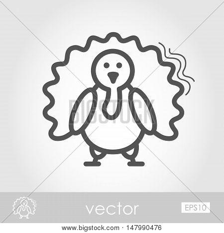 Turkey outline icon. Harvest. Thanksgiving vector illustration eps 10