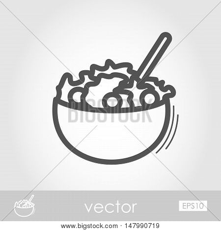 Salad bowl outline icon. Harvest. Thanksgiving vector illustration eps 10