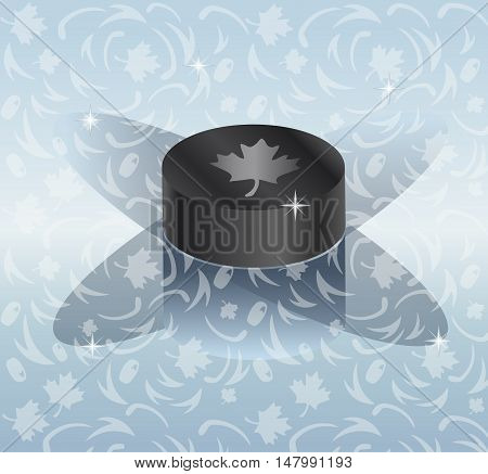 Hockey 2017/18 World Cup abstract background with hockey puck and shadow. World Cup of Hockey Logo 3D Hockey pack. Canada, Europe Vector Seamless pattern. Hockey World League ice hockey, hockey puck, hockey stick, Hockey ice arena pattern.