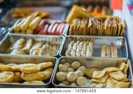 Chinese street snack at street food stall in China town in Malaysia
