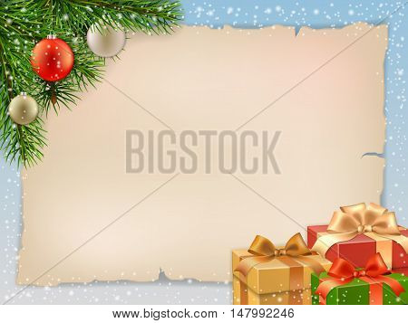 Christmas card with fir branch and gift boxes. Vector christmas greeting card background.