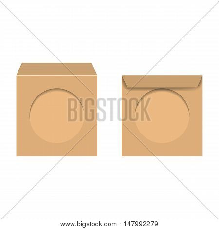 Yellow realistic envelope with a window for CD isolated on white background vector illustration.