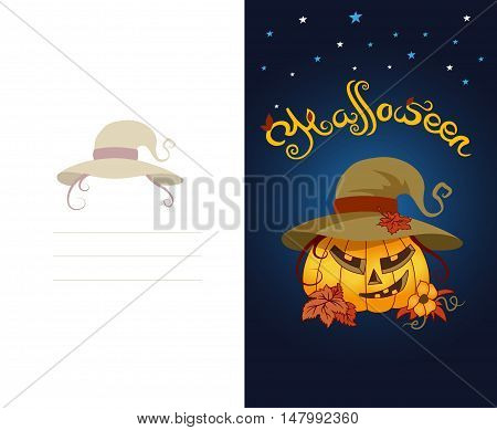 Bright, cheerful greeting card for the holiday Halloween. Scary pumpkin wearing hat. There are autumn leaves and flowers. Backdrop of a starry sky.