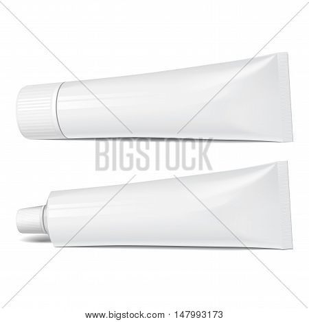 Realistic tube. Set of cosmetic products on a white background. Cosmetic package collection for cream soups foams shampoo tooth paste glue. vector illustration.