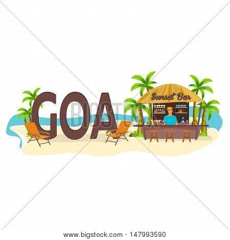 Beach Bar. Goa, India. Travel. Palm, Drink, Summer, Lounge Chair, Tropical.