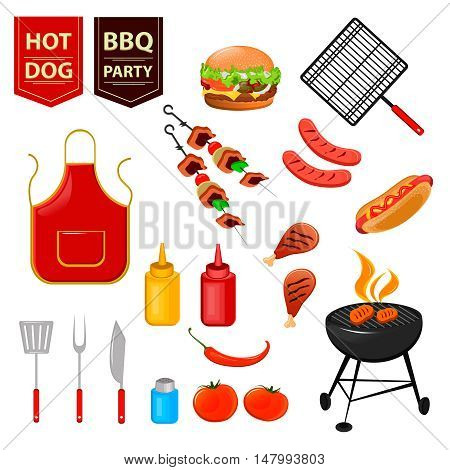 Summer barbecue party. Set of flat icons with grilled chicken drumsticks hot dog meat and sauces vector illustration