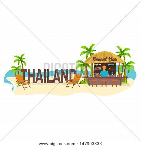 Beach Bar. Thailand. Travel. Palm, Drink, Summer, Lounge Chair, Tropical.