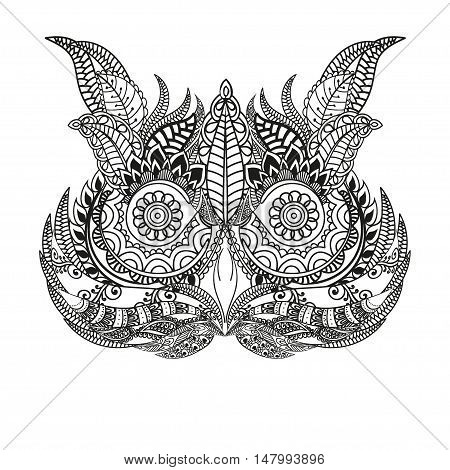 Hand drawn black white illustration owl fly bird. Art Coloring book page. Cute black and white sketch with floral ornament. Boho, tribal owl