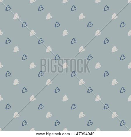 Hand drawn heart vector background. Seamless grey valentines day pattern.