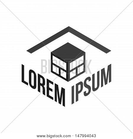 Abstract black cube logo on a white background