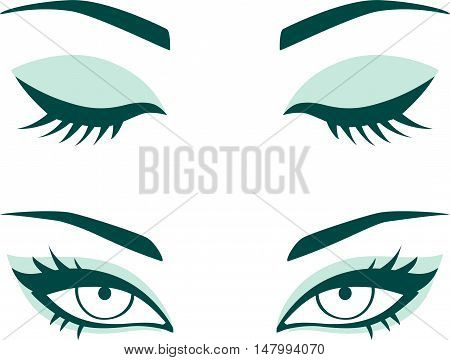 Vector female eyes. Closed and opened eyes with beautiful makeup