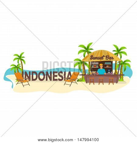 Beach Bar. Indonesia. Travel. Palm, Drink, Summer, Lounge Chair, Tropical.