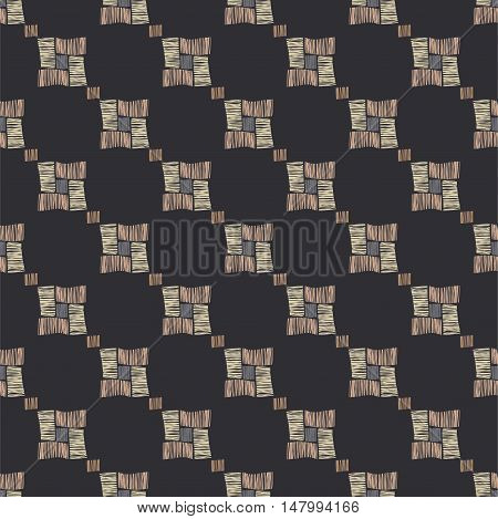 Brown vector checkered grunge seamless pattern. Abstract african tribal background.