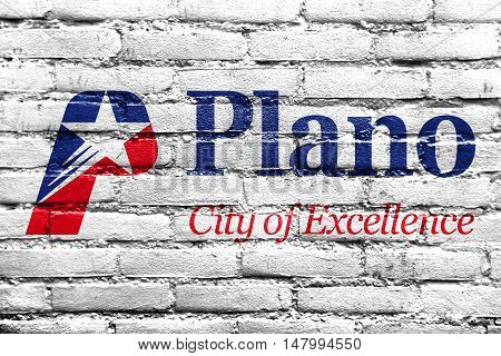 Flag Of Plano, Texas, Usa, Painted On Brick Wall