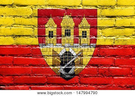 Flag Of Prague With Coat Of Arms (escutcheon Only), Czechia, Painted On Brick Wall