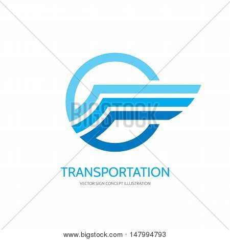 Transportation - business logo template creative illustration. Wing abstract vector sign. Circle and stripes design element.
