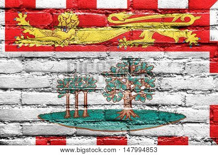 Flag Of Prince Edward Island Province, Canada, Painted On Brick Wall