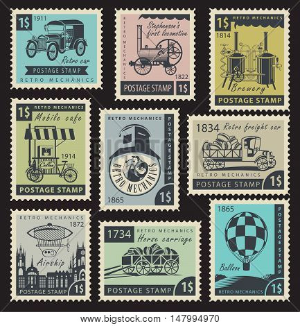 vector set of stamps on the theme of retro mechanics