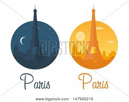 Paris. Tourism. Eiffel Tower. France. Modern Flat Design.