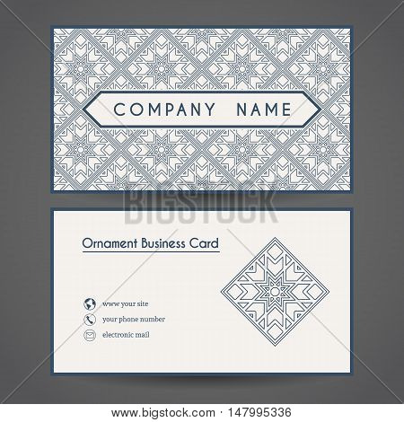 Ornamental vintage business card. Vector editable template include front and back side, geometric pattern and contact icons