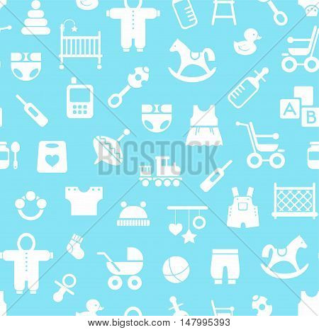 Products for children, background, seamless, blue. Vector colored background with clothes, toys and personal items for newborns and young children. White icons on a light blue background.