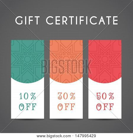 Ornamental discount coupon. Vector editable template with arabic pattern