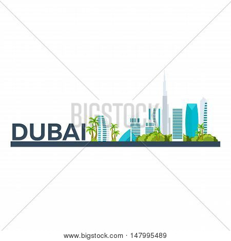 Dubai. Tourism. Travelling Illustration Dubai City. Modern Flat Design. Dubai Skyline. Uae
