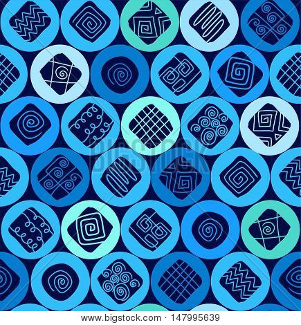 Circles and curls, seamless decor, blue. Vector flat background with circles, squares, and wavy lines. Dark blue squares on a light blue and green circles. Abstract, geometric decoration.