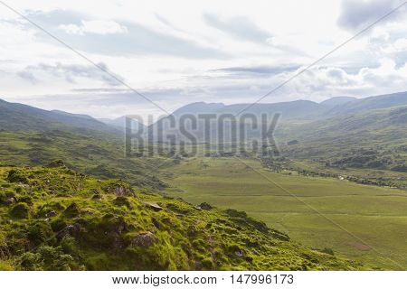 nature and landscape concept - view to Killarney National Park hills in ireland