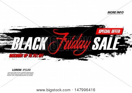 Black Friday Sale. Special offer banner with handwritten element and brush stroke background. Discount up to 75% off. Banner for business, promotion and advertising. Vector illustration.