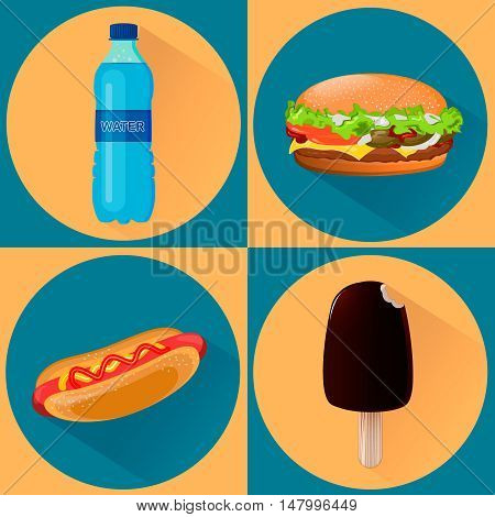 Food icons. Set of four vector illustrations