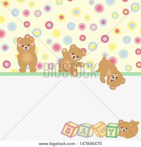 Scalable vectorial image representing a teddy bear baby background.