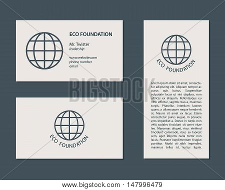 Vector business card and flyer template. Environment and ecology theme.