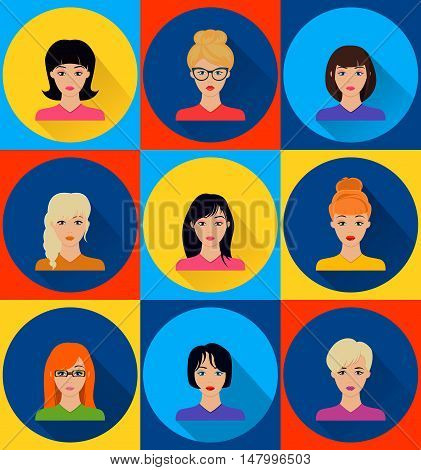 Avatar, different beautiful female faces, flat style, vector image