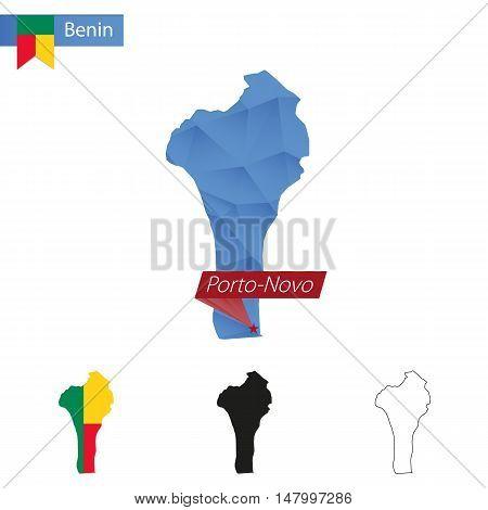Benin Blue Low Poly Map With Capital Porto-novo.