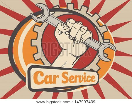 Car service emblem logo. Cartoon colorful vector illustration