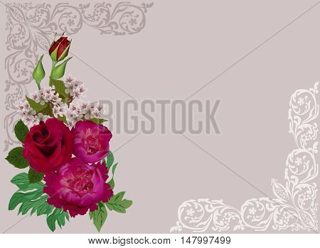 illustration with group of flowers on light background
