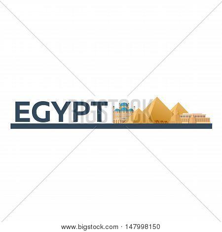 Egypt. Tourism. Travelling Illustration. Modern Flat Design. Egypt Travel. Pyramid