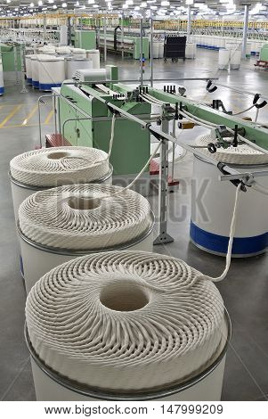 Deep perspective of textile spinning machine in factory