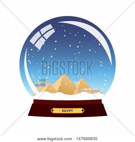 Snow Globe City. Egypt In Snow Globe. Winter Travel Vector Illustration