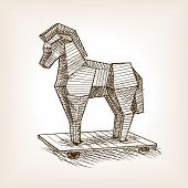 Trojan horse sketch style vector illustration. Historical object. Old hand drawn engraving imitation. poster