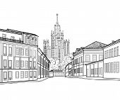 Moscow city street view with famous Stalin skyscraper building on background. Moscow cityscape. Travel Russia engraving skyline poster