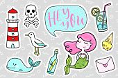 Fashion quirky cartoon doodle patch badges with cute elements. Vector illustration isolated on background. Set of stickers, pins, patches in cartoon comic style of 80s-90s. Vector collection poster