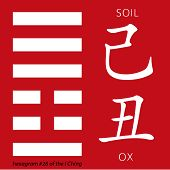 Symbol of i ching hexagram from chinese hieroglyphs. Translation of 12 zodiac feng shui signs hieroglyphs- soil and ox. poster