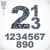 Floral numerals hand-drawn vector numbers decorated with botanical pattern. Monochrome ornamental numeration digits made in vintage design. poster