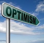 optimism think positive be an optimist by having a positivity attitude that leads to a happy optimistic life and mental health  3D illustration poster