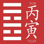Symbol of i ching hexagram from chinese hieroglyphs. Translation of 12 zodiac feng shui signs hieroglyphs- sun and tiger. poster