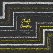 Hand drawn chalk vector brushes with inner and outer corner. Chalk brush divider border. Isolated decorative chalk frame. Vector chalk design element. Isolated scribble line frame. Chalk background poster