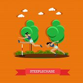 Vector illustration of two steeplechase female athletes. Track and field athletics competitions. Sportswomen running on the track and jumping over the hurdle. Flat design poster