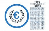 Euro Glory rounded vector bicolor icon with 1000 medical business icons. Set style is flat pictograms, smooth blue colors, white background. poster